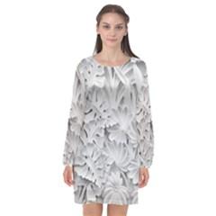 Pattern Motif Decor Long Sleeve Chiffon Shift Dress  by BangZart