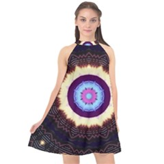 Mandala Art Design Pattern Halter Neckline Chiffon Dress  by BangZart