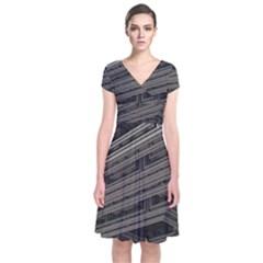 Fractal 3d Construction Industry Short Sleeve Front Wrap Dress