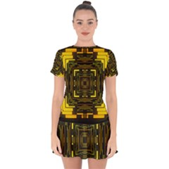 Abstract Glow Kaleidoscopic Light Drop Hem Mini Chiffon Dress by BangZart