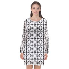 Pattern Background Texture Black Long Sleeve Chiffon Shift Dress