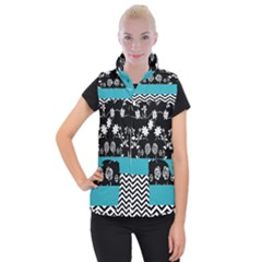 Flowers Turquoise Pattern Floral Women s Button Up Puffer Vest by BangZart