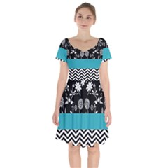 Flowers Turquoise Pattern Floral Short Sleeve Bardot Dress by BangZart