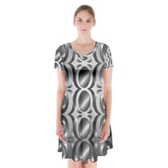 Metal Circle Background Ring Short Sleeve V Neck Flare Dress by BangZart