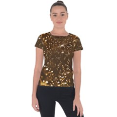Festive Bubbles Sparkling Wine Champagne Golden Water Drops Short Sleeve Sports Top