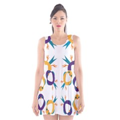 Pattern Circular Birds Scoop Neck Skater Dress by BangZart