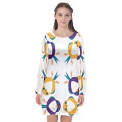 Pattern Circular Birds Long Sleeve Chiffon Shift Dress