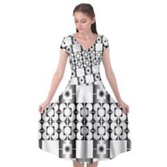 Pattern Background Texture Black Cap Sleeve Wrap Front Dress