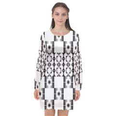 Pattern Background Texture Black Long Sleeve Chiffon Shift Dress  by BangZart