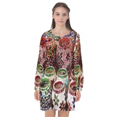 Colorful Oriental Candle Holders For Sale On Local Market Long Sleeve Chiffon Shift Dress  by BangZart