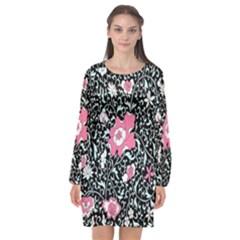 Oriental Style Floral Pattern Background Wallpaper Long Sleeve Chiffon Shift Dress  by BangZart