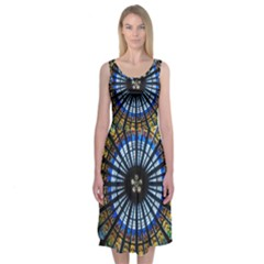 Stained Glass Rose Window In France s Strasbourg Cathedral Midi Sleeveless Dress
