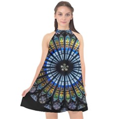 Stained Glass Rose Window In France s Strasbourg Cathedral Halter Neckline Chiffon Dress