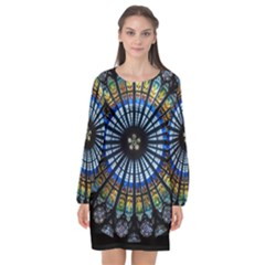 Stained Glass Rose Window In France s Strasbourg Cathedral Long Sleeve Chiffon Shift Dress  by BangZart