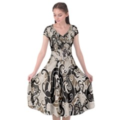 Dragon Pattern Background Cap Sleeve Wrap Front Dress by BangZart
