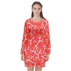 Small Flowers Pattern Floral Seamless Pattern Vector Long Sleeve Chiffon Shift Dress  by BangZart