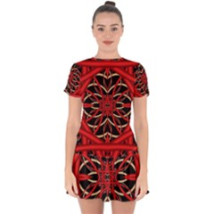 Fractal Wallpaper With Red Tangled Wires Drop Hem Mini Chiffon Dress by BangZart