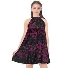 Pink Floral Pattern Background Wallpaper Halter Neckline Chiffon Dress  by BangZart