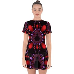 Fractal Red Violet Symmetric Spheres On Black Drop Hem Mini Chiffon Dress