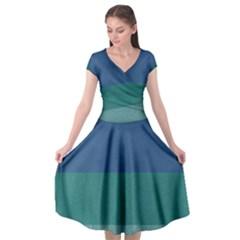 Blue Gradient Glitter Texture Pattern  Cap Sleeve Wrap Front Dress by paulaoliveiradesign