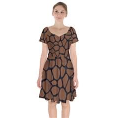 Skin1 Black Marble & Brown Wood Short Sleeve Bardot Dress by trendistuff