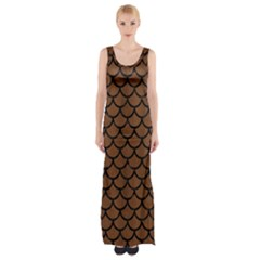 Scales1 Black Marble & Brown Wood (r) Maxi Thigh Split Dress