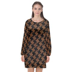 Houndstooth2 Black Marble & Brown Wood Long Sleeve Chiffon Shift Dress  by trendistuff