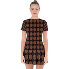 Circles1 Black Marble & Brown Wood Drop Hem Mini Chiffon Dress by trendistuff