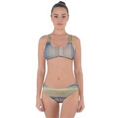 Denim-blue And Buttercream Criss Cross Bikini Set by digitaldivadesigns