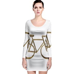 Elegant Gold Look Bicycle Cycling  Long Sleeve Bodycon Dress by yoursparklingshop