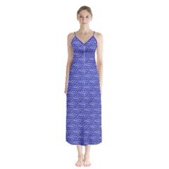 Blue Scales Button Up Chiffon Maxi Dress by Brini