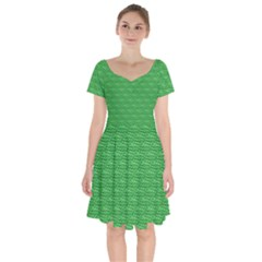 Green Scales Short Sleeve Bardot Dress