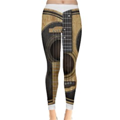Old And Worn Acoustic Guitars Yin Yang Classic Winter Leggings by JeffBartels