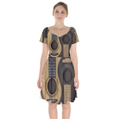 Old And Worn Acoustic Guitars Yin Yang Short Sleeve Bardot Dress
