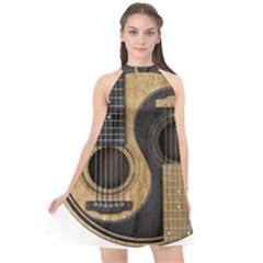 Old And Worn Acoustic Guitars Yin Yang Halter Neckline Chiffon Dress  by JeffBartels