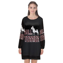 Bull Terrier  Long Sleeve Chiffon Shift Dress  by Valentinaart