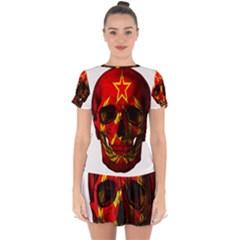Russian Flag Skull Drop Hem Mini Chiffon Dress by Valentinaart