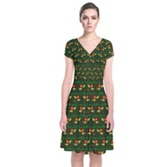 Plants And Flowers Short Sleeve Front Wrap Dress by linceazul