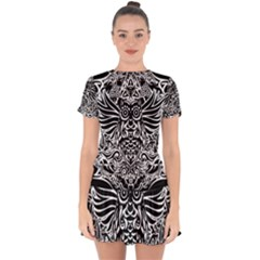 Tattoo Tribal Owl Drop Hem Mini Chiffon Dress by Valentinaart