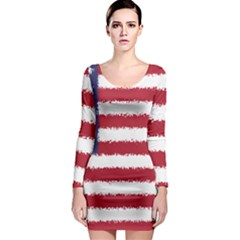 Flag Of The United States America Long Sleeve Bodycon Dress