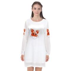 Animal Image Fox Long Sleeve Chiffon Shift Dress  by BangZart