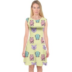 Animals Pastel Children Colorful Capsleeve Midi Dress by BangZart