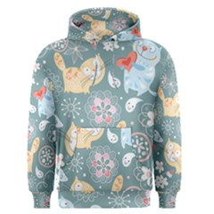 Cute Cat Background Pattern Men s Pullover Hoodie