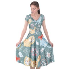 Cute Cat Background Pattern Cap Sleeve Wrap Front Dress by BangZart