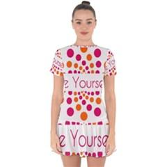 Be Yourself Pink Orange Dots Circular Drop Hem Mini Chiffon Dress by BangZart