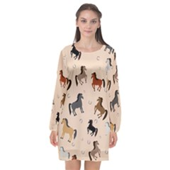 Horses For Courses Pattern Long Sleeve Chiffon Shift Dress