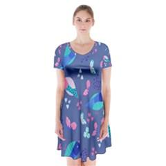 Birds And Butterflies Short Sleeve V Neck Flare Dress by BangZart