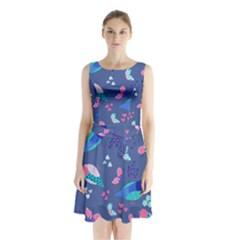 Birds And Butterflies Sleeveless Waist Tie Chiffon Dress by BangZart