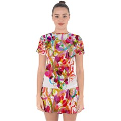 Abstract Colorful Heart Drop Hem Mini Chiffon Dress by BangZart