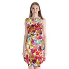 Abstract Colorful Heart Sleeveless Chiffon Dress   by BangZart